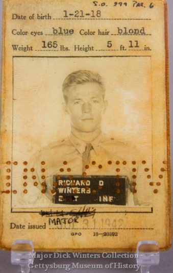 major-dick-winters-officers-i-d-card-on-display-at-the-gettysburg-museum-of-history