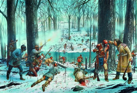Miami sharpshooters cover their comrades at the Battle of the Wabash, 4th November 1791. Via Osprey. Click to big up.