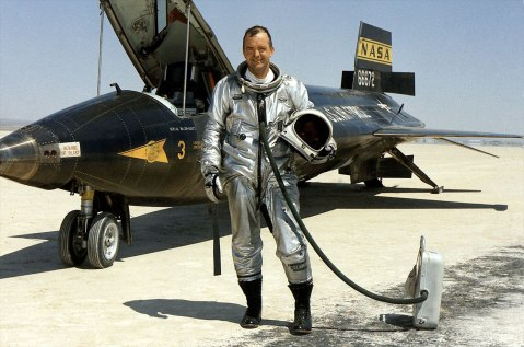 "NASA research pilot William ""Bill"" Dana is seen standing next to the X-15 rocket-powered aircraft after a flight in 1967. (NASA)"