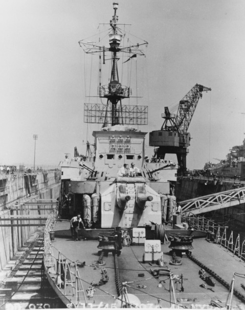 Ex-German Z-39 in dry-dock at Boston Navy Yard on 11 August 1945. Note 150 mm twin gun mounting. Courtesy of Mr. Robert F. Sumrall. Catalog #: NH 75382