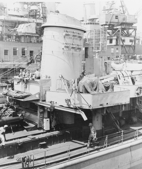 (Ex-German Z-39) View of after 37mm Bofors-type A.A. gun platform, near the afterstack. Note these 37mm guns are of two different types. Taken at Boston Navy Yard, August 11, 1945. Courtesy of Robert F. Sumrall Catalog #: NH 75405