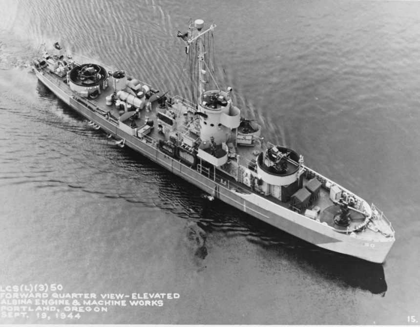 USS LCS(L)(3) 50 At Albina Engine and Machine Works Portland, Oregon, 19 September 1944. Courtesy of James C. Fahey collection, U.S. Naval Institute. Catalog #: NH 81527