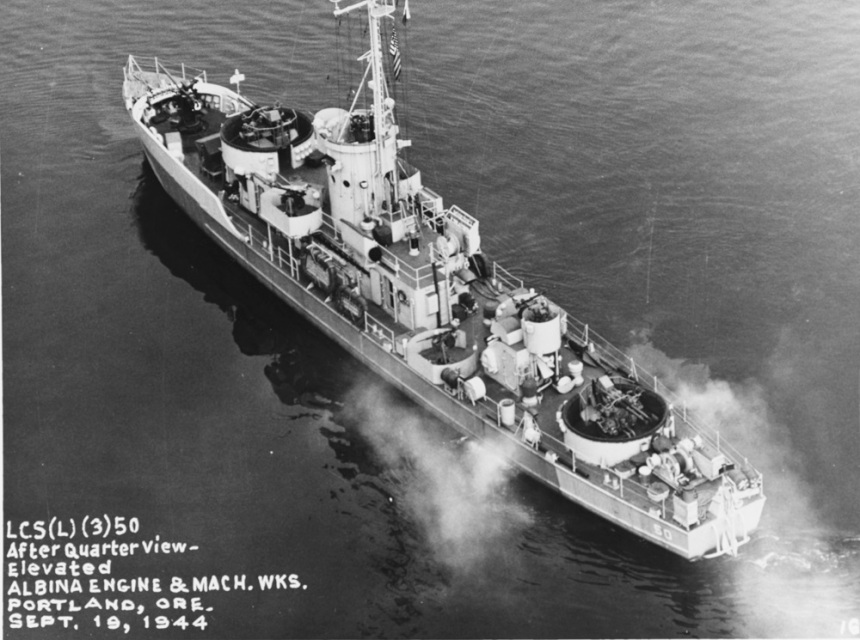 USS LCS(L)(3) 50 Caption: At Albina Engine and Machine Works Portland, Oregon, 19 September 1944. Courtesy of James C. Fahey collection, U.S. Naval Institute Catalog #: NH 81530