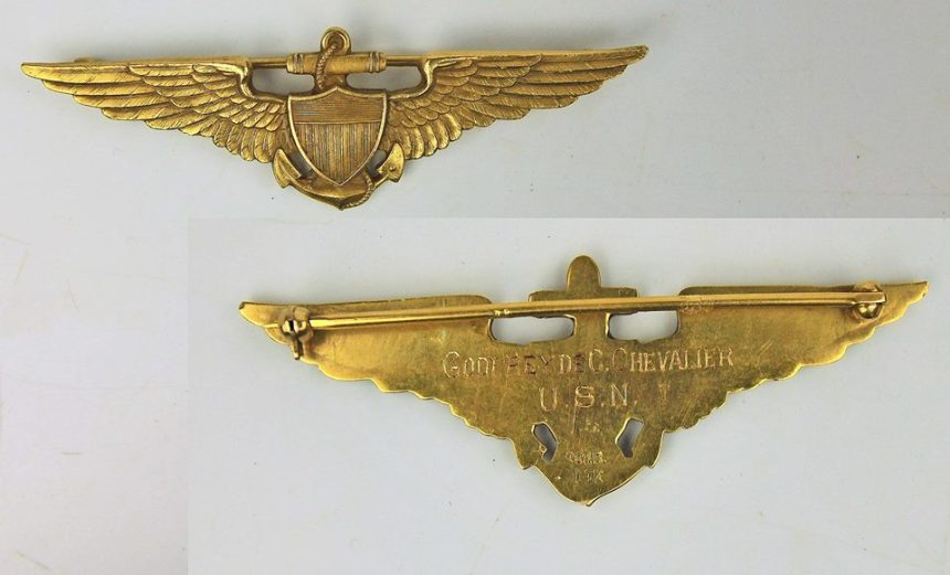 The wings pictured belonged to Lieutenant Commander Godfrey Chevalier, Naval Aviator Number 7, who was the first to trap on board a U.S. Navy aircraft carrier. They are in the collection of the National Naval Aviation Museum