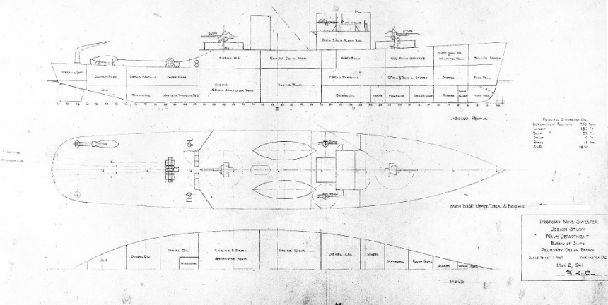 """Preliminary design plan, probably prepared during consideration of what became the Admirable (AM-136) class. This drawing, dated 2 May 1941, is for a 750-ton (full load displacement) vessel with a length of 180 feet. Scale of the original drawing is 1/8"""" = 1'. The original plan is in the 1939-1944 """"Spring Styles Book"""" held by the Naval Historical Center U.S. Navy photo S-511-34"""
