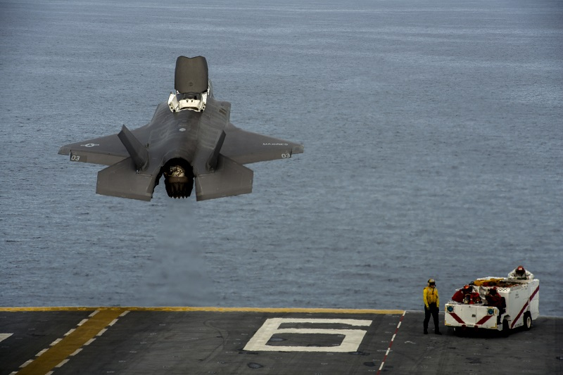 PACIFIC OCEAN -- An F-35B Lightning II takes off from the flight deck of USS America (LHA 6) during the Lightning Carrier Proof of Concept Demonstration, November 19, 2016. The demonstration is the first shipboard Marine Corps F-35B integration demonstration alongside other Marine Corps Air Combat Element assets. (U.S. Marine Corps Photo by Cpl. Thor Larson/Released)
