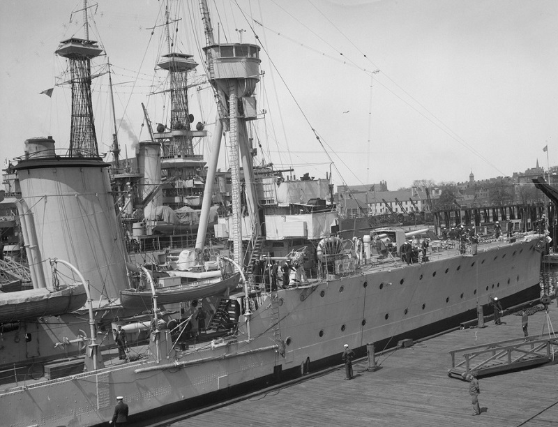 Note the lattice masts of either USS Delaware or Florida to her port