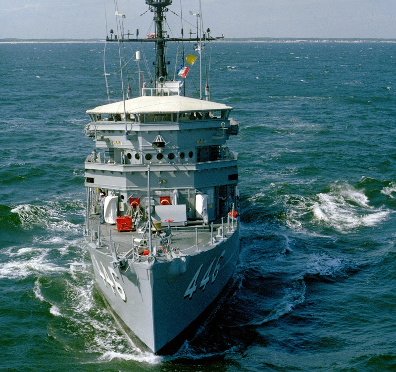 A bow view of the ocean minesweeper USS FORTIFY (MSO 446) underway, 6/8/1982