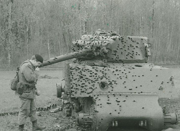 Ex-Canadian M4 Sherman used for target practice with anti-tank weapons, 1986