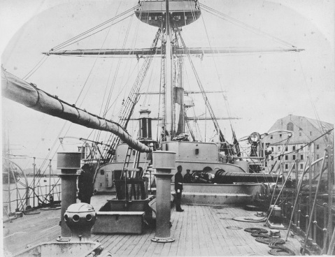 View of the quarterdeck looking forward, circa 1887. Gun is an 8