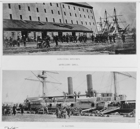 Crewmembers in landing force drill, New York Navy Yard, 1888. Guns are 37 mm Hotchkiss revolving cannon, on field carriages. Note the BOSTON in the background of the lower photograph. Catalog #: NH 56529