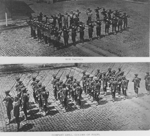 Two prints showing the cruiser's landing force drilling in riot tactics, in a square fighting formation, and in column of fours marching formation, 1888. Probably taken at the New York Navy Yard. Note these Sailors rifles, bayonets and military field gear. U.S. Naval History and Heritage Command Photograph. Catalog #: NH 56551