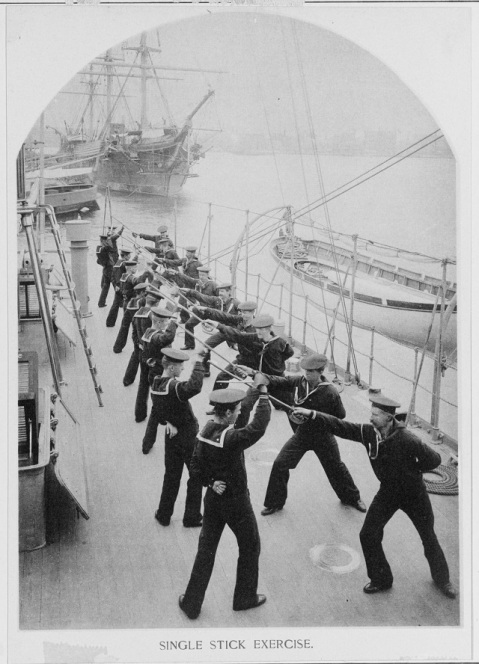 Now THIS is the Navy of Decatur! Caption: Sword practice in 1888. Description: Catalog #: NH 56552