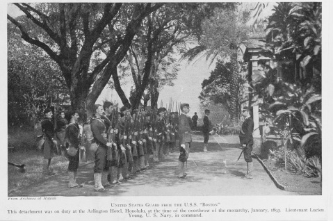 Fine screen halftone reproduction of a photograph of the ship's landing force on duty at the Arlington Hotel, Honolulu, at the time of the overthrow of the Hawaiian monarchy, January 1893. Lieutenant Lucien Young, USN, commanded the detachment, and is presumably the officer at right. The original photograph is in the Archives of Hawaii. This halftone was published prior to about 1920. U.S. Naval History and Heritage Command Photograph. NH 56555