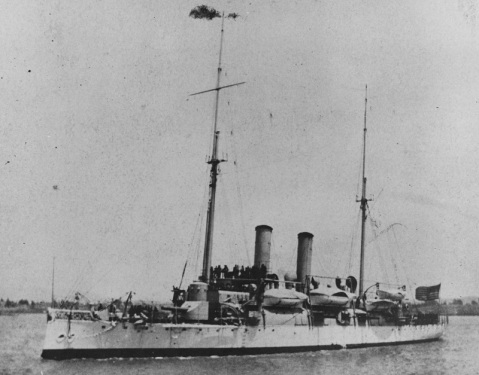 Underway, circa the early 1900s, after her sailing rig had been removed and other modifications made. Note the new-type gun shield fitted to her forward eight-inch gun and the huge contrast to her profile from the lead image above. Donation of Rear Admiral Ammen Farenholt, USN(MC), 1935. U.S. Naval History and Heritage Command Photograph. Catalog #: NH 61699