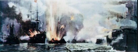 Battle of Manila Bay, 1 May 1898. Description: Colored print after a painting by J.G. Tyler, copyright 1898 by P.F. Collier. Ships depicted in left side of print are (l-r): Spanish Warships Don Antonio de Ulloa, Castilla, and Reina Cristina. Those in right side are (l-r): USS Boston, USS Baltimore and USS Olympia. Collections of the Navy Department, purchased from Lawrence Lane, 1970. U.S. Naval History and Heritage Command Photograph. Catalog #: NH 71839-KN
