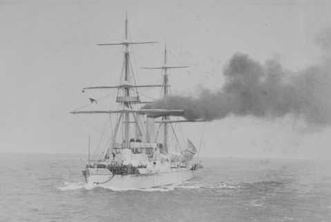 Steaming off San Francisco, California, circa 1892-1893. Photographed by Marceau, 826 Market St., San Francisco. Collection of Rear Admiral Wells L. Field, USN. U.S. Naval History and Heritage Command Photograph Catalog #: NH 73387