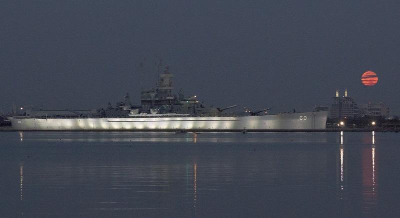 the Super Moon setting near the USS ALABAMA Battleship Memorial Park... by Tim Ard https://www.facebook.com/photo.php?fbid=10154113539032607&set=pcb.10154113545592607&type=3&theater