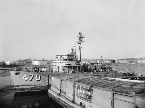 The U.S. Navy minesweeper USS Salute (MSO-470) at Luders Marine Construction Co., Stamford, Connecticut (USA), in January 1955.