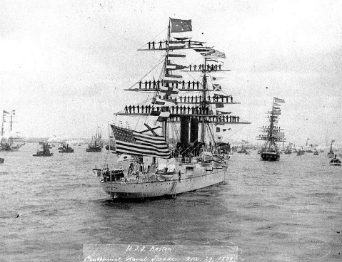 Dressed with flags and manning her yards during the Centennial Naval Parade in New York Harbor, 29 April 1889. The four-star flag of Admiral David Dixon Porter is flying from her mainmast peak-- since the death of Farragut the only four star until Dewey. Photographed by Loeffler, Tomkinsville, Staten Island, New York. Donation of Rear Admiral Ammen Farenholt, USN(MC), 1933. U.S. Naval History and Heritage Command Photograph. Catalog #: NH 416