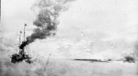The protected cruiser USS BOSTON in action, 1 May 1898. Description: Presented by Lieutenant C.J. Dutreaux, USNR (retired) Catalog #: USN 902933