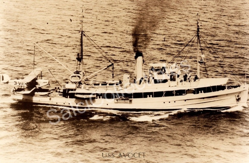 Image of Avocet as a seaplane tender likely in the late 1920s with what looks like a Martin T3M-2 torpedo bomber from the Pearl Harbor-based Torpedo Squadron 3 (VT-3) on her stern. The Navy ordered an even 100 of the planes in 1926 and they served in both torpedo patrol squadrons and carrier-based scouting squadrons (on Lexington and Saratoga) into the early 1930s.