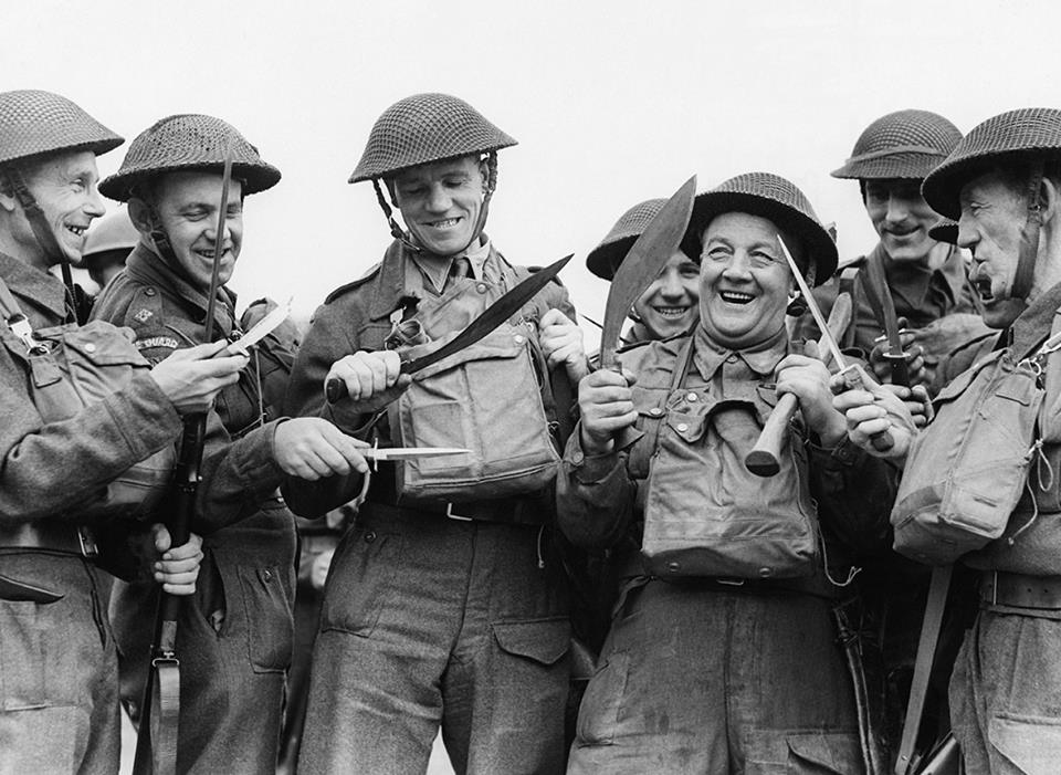 British Home Guard display an array of close-combat weaponry at a training session, 1942. including kukri.jpg
