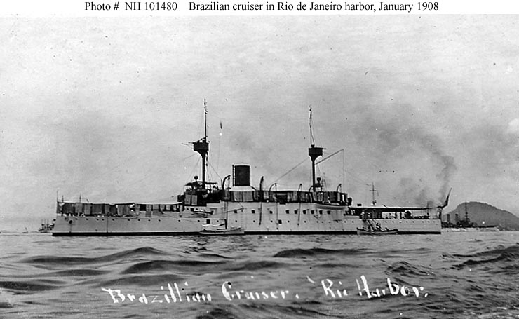 This ship is either Marshal Deodoro (launched 1898) or Marshal Floriano (launched 1899). A U.S. Navy battleship is partially visible in the right background. Collection of Chief Quartermaster John Harold. Photo #: NH 101480