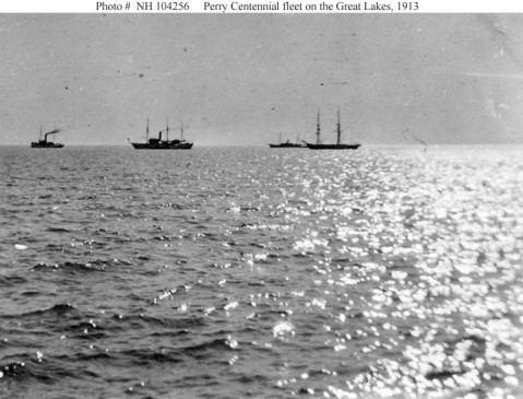 Ships seen are (from left to right): U.S. Revenue Cutter Tuscarora; USS Wolverine (Pennsylvania Naval Militia ship); a converted yacht, probably one of those assigned to Great Lakes state Naval Militias; and the Niagara replica. Courtesy of Tom Parsons, 2007. U.S. Naval History and Heritage Command Photograph. NH 104256