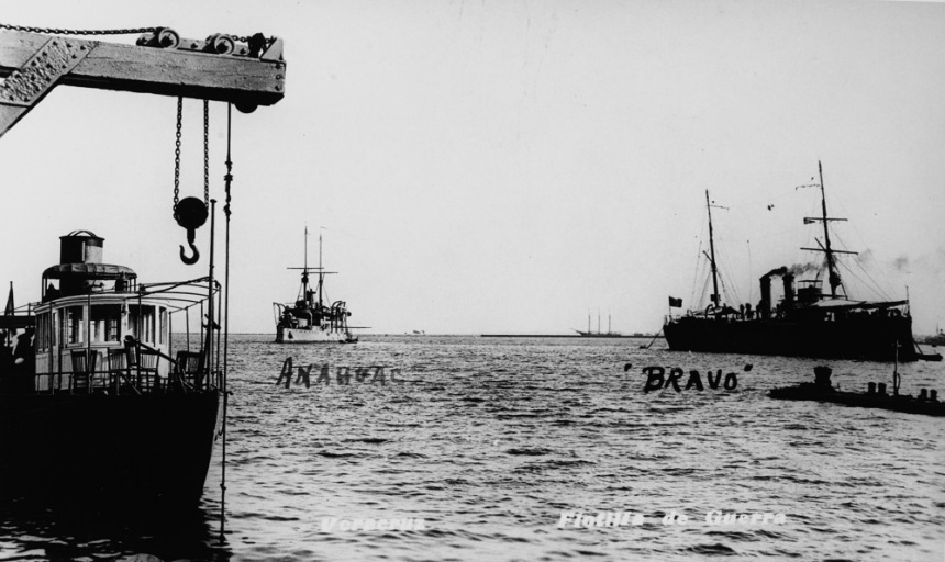 Photographed together at Veracruz on the Gulf of Mexico. ANAHUAC (at left), in commission from 1898 to circa 1935, was the former Brazilian MARECHAL DEODORO, acquired in April 1924. The NICOLAS BRAVO (at right) was in commission from 1903 to 1940. Bravo was the deciding factor in the first battle of Tampico in 1914. The U.S. Navy Office of Naval Intelligence, probably as a postcard on public sale, acquired this photograph. Description: Catalog #: NH 93257