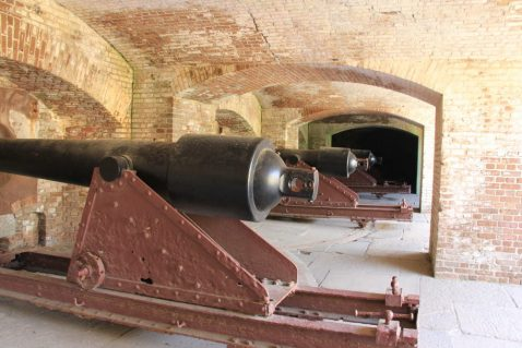 The Right Face Wall of Fort Sumter contains 11 6.4-inch Parrott Rifles in the first teir casemates. They were moved to the fort in 1873 from the Augusta Arsenal and their provenance is hidden under 150 years of rust and paint (Photo: NPS/Taormina)