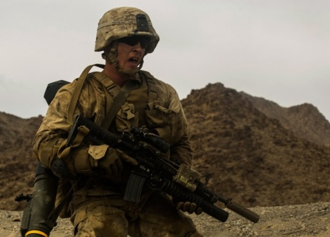 A U.S. Marine with Bravo Company, 1st Battalion, 2nd Marine Regiment, conducts a company attack range in Twentynine Palms, Calif., Oct. 23, 2016. Bravo Company is participating in Integrated Training Exercise (ITX) 1-17 and preparing to support Special Purpose Marine Air-Ground Task Force. (U.S. Marine Corps photo by Lance Cpl. Sarah N. Petrock, 2d MARDIV Combat Camera)