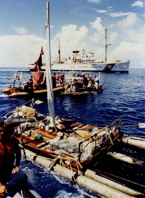 USCGC Escape (WMEC-6) on patrol in the Caribbean Sea picking up refugees, circa 1994. Photo courtesy of the National Association of Fleet Tug Sailors, contributed by Scott Vollmer via Navsource