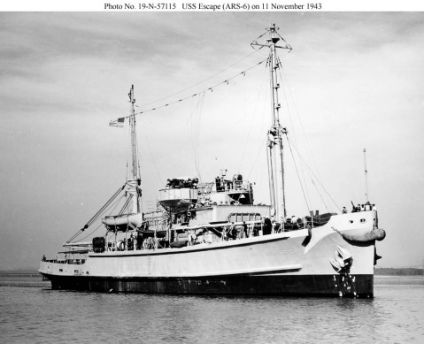 Escape (ARS-6) in the Napa River, CA. 11 November 1943, about a week before commissioning. This ship, the second of this type ordered for the US Navy, was completed with a modified rig aft consisting of a single kingpost with two longer booms. One of the booms was soon deleted, and this became the standard rig for the remainder of the class. US National Archives, RG-19-LCM, photo #'s 19-N-57115, US Navy Bureau of Ships photos now in the collections of the US National Archives, courtesy Shipscribe.com via Navsource. http://www.navsource.org/archives/09/37/3706.htm