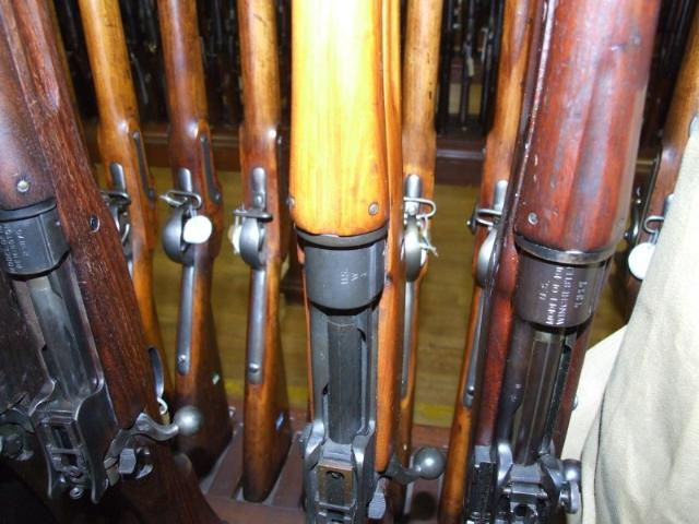 "Winchester M1917 SN#1 on the rack at Springfield. Note how blonde the stock is on ""Woodrow's"" gun"