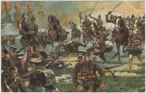 Battle of St. Quentin. German soldiers on horseback, carrying swords, are riding toward English and Scottish infantry.