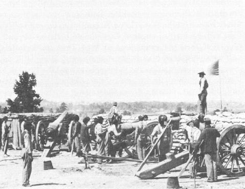 During the opening attacks on Petersburg in June, 1864, Union forces captured a portion of the Confederate line east of Petersburg. Confederate Battery V was the first gun battery to be captured. The remains of the battery are located behind the current Petersburg National Battlefield Eastern Front Visitor Center. (Photo LOC)