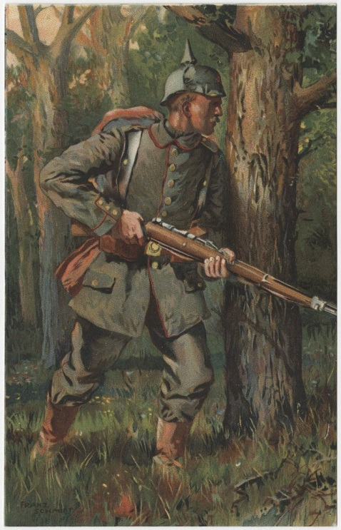 Color image on a postcard showing a German infantryman holding his rifle, standing in the woods.