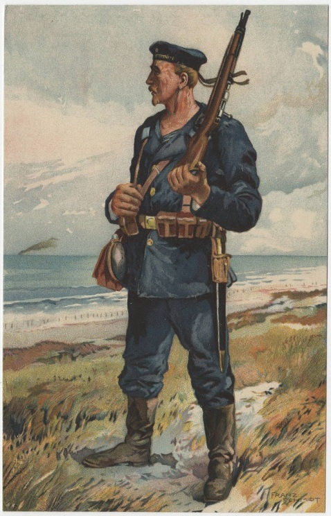 Color image on a postcard showing a German Marine on a beach, carrying a rifle over his shoulder.