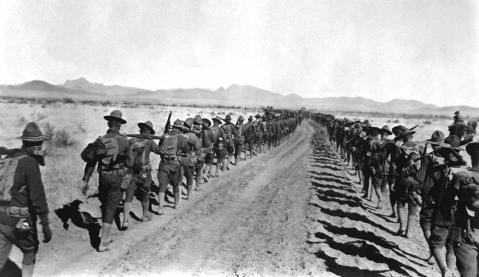 US infantrymen in Mexico during the hunt for Pancho Villa. January, 1917. Image via The Great War 1914-1918