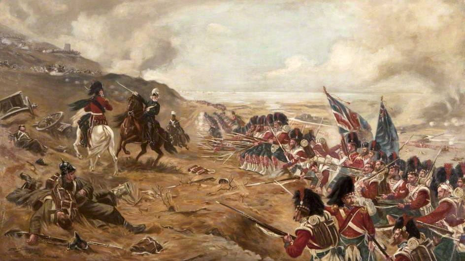 Forward! 42nd Highland (Black Watch) at the Battle of Alma, 1854, Crimean War. Note the red hackles