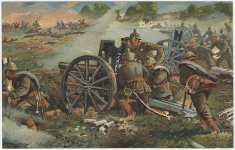 German 77mm field artillery defend from French cavalry in battle near the Aisne