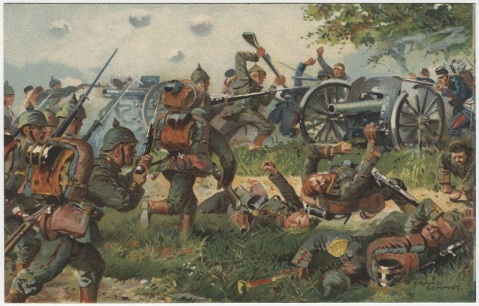 German soldiers fighting French soldiers at Neufchâteau