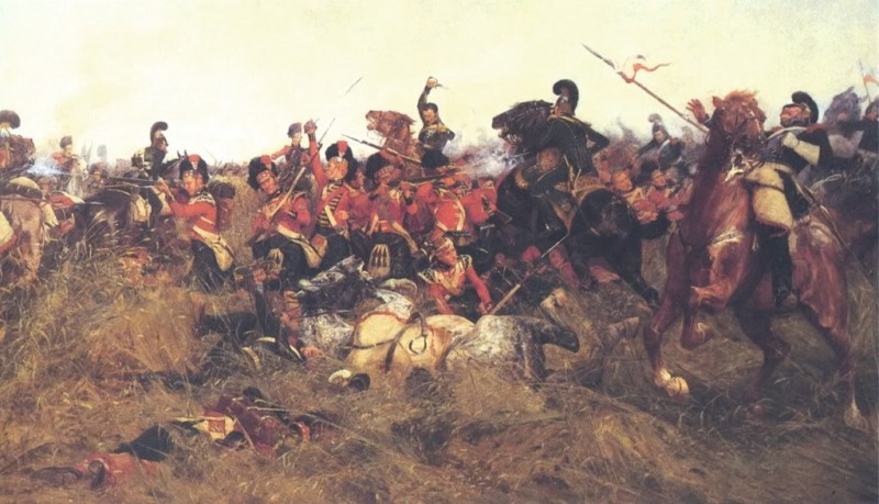 The Black Watch at Quatre Bras, 1815, by William Barnes Wollen. Note the red hackles in their caps