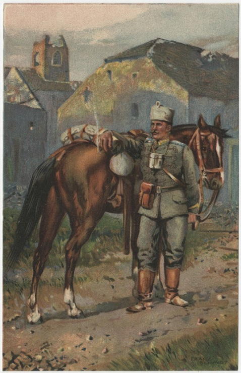 Hussar standing with his horse in a city that has been bombed. In his hand is a lit cigar