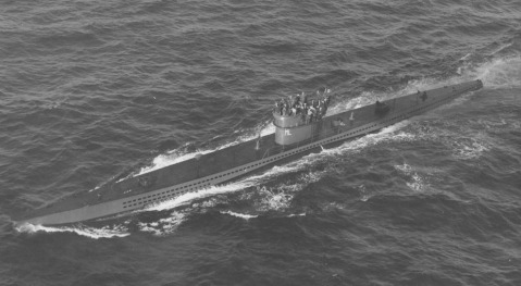 Italian Submarine Goffredo Mameli August 27, 1944 off the east coast of the U.S. (Maine). Following the Armistice, Mameli and two of her sisters were sent to the US to serve as training targets for allied forces and were based in Florida, near the SONAR school in Key West. Photographed by a blimp from ZP-11