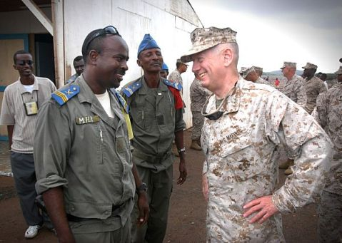 Douda, Djibouti (Dec. 5, 2006) - U.S. Marine Corps Forces Central Commander, Lt. Gen. James Mattis visits with local officials from Douda, Djibouti, home base for the Combined Joint Task Force-Horn of Africa command. U.S Navy photo by Chief Mass Communication Specialist Eric A. Clement (RELEASED)