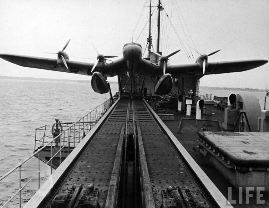 MS Schwabenland about to launch a Ha 139 from it's catapult, 1937. Life archives