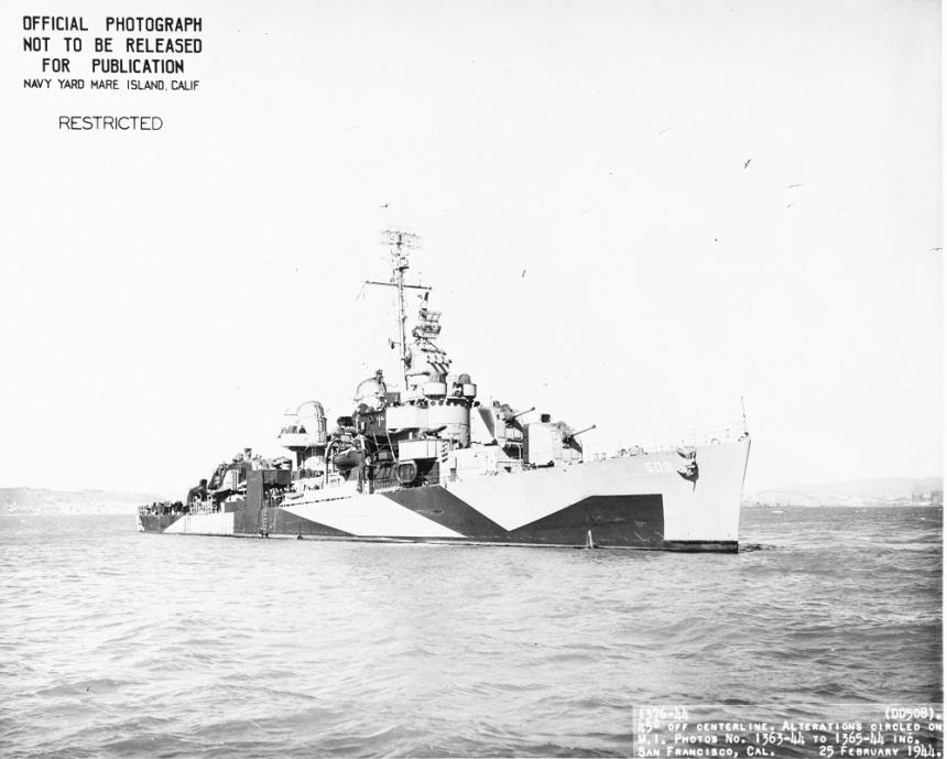 (DD-508) Off San Francisco, California, 25 February 1944. NH 104497
