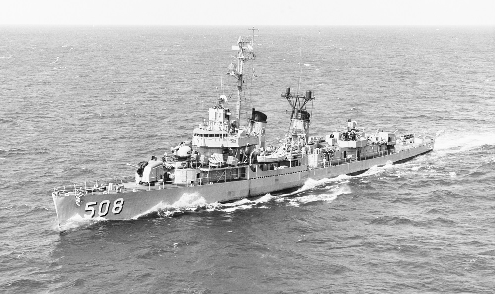 Not bad looking for a 25 year old tin can that had fought in three wars. (DD-508) Underway in the Atlantic, 12 March 1968, the year before she was pulled from the line. Photographed by Lieutenant D.V. Orgill, USN. Official U.S. Navy Photograph, from the collections of the Naval History and Heritage Command. #: NH 104498